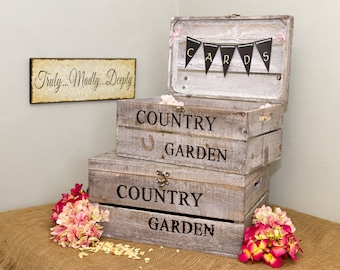 Extra Large country garden handmade personalised wooden Wedding Card or Gift  Box Chest  keepsake memories box