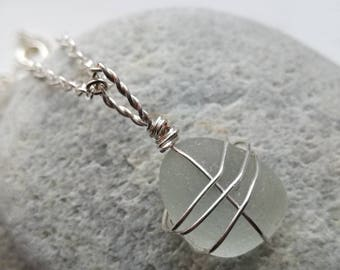 Handmade Clear Sea Glass Pendant Necklace