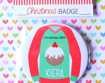 Personalised Christmas Pudding Badge, Stocking Filler