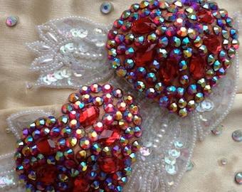 Red heart burlesque pastie, rhinestones, burlesque