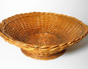 Vintage Bread Basket, Fruit Basket, Roll Basket, Wicker Basket, Footed Basket, Large Basket, Wicker Bowl