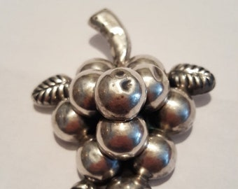 ON SALE  : Large Sterling silver Grape Pin brooch Signed CMS