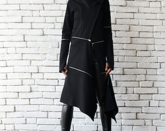 Extravagant Long Coat/Casual Zipper Jacket/Long Asymmetric Trench Coat/Oversize Black Tunic/Modern Black Cardigan/Loose Black Coat