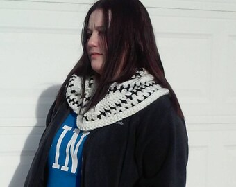 White Infinity Scarf White and Black Infinity Scarf,  Cowl , Circle Scarf