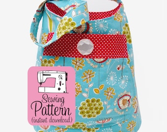 Bucket Bag PDF Sewing Pattern | Shoulder bag pattern to make a deep tote to use as a purse or project tote.