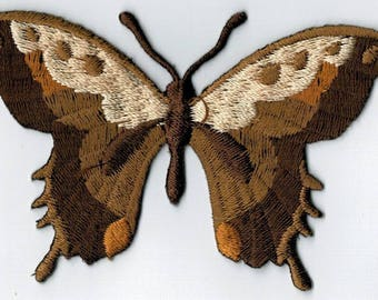 Coat ecru Brown Butterfly embroidered iron or sew. Applique Patch 7.5 x 5.5 cm