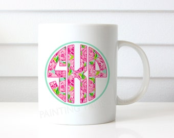 Preppy Floral Monogram Ceramic Mug | 15 ounce | Custom Design | Gift | Coffee