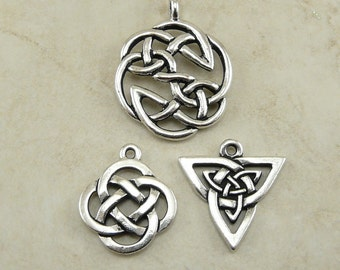 3 TierraCast Open Celtic Knot Pendant Charms Mix Pack > St Patricks Day -TierraCast Silver Plated Lead Free Pewter Ship Internationally  a6