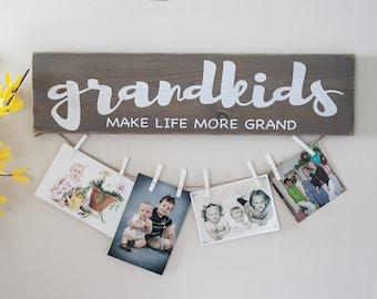 Grandkids Make Life More Grand wood sign- hand painted- rustic decor- farmhouse- weathered look- Free Gift Wrapping Available!