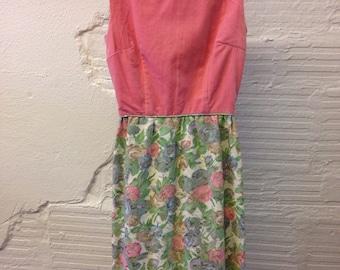 Pink Velvet Dress 1960s Floral Brocade party dress