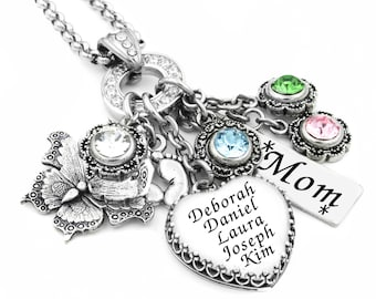 Mother's Jewelry - Personalized Birthstone Necklace - Birthstone Jewelry - Grandmother Necklace