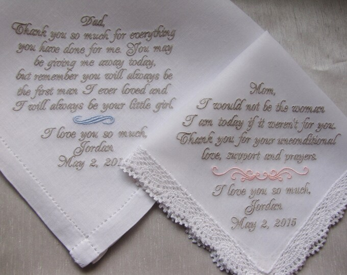 Personalized Custom Wedding Handkerchiefs for parents of the Bride