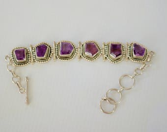 Handcrafted, Gorgeous Sterling Silver with Genuine Amethyst Bracelet.