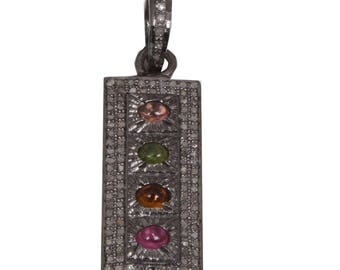 Diamond Pendant,  Pendant , Ruby Pendant, 92.5 Sterling Silver Pendant