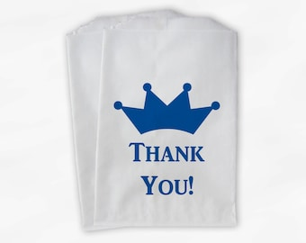 Kids Little Prince Party Candy Favor Bags with Crown - Royal Blue Custom Thank You Treat Bags for Kids - 25 Paper Bags (0090)