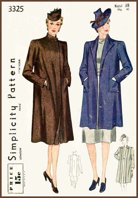 Vintage Sewing Pattern 1930s 30s winter coat jacket box swing