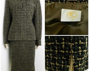 80's WOOL tweed checkered jacket + matching skirt suit faux leather trim black grey + beige u.k. 12 - 14 M