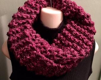 Sassenach Cowl chunky knit, raspberry womens cowl, sassenach claire, chunky cowl, Miss claire Cowl, Claire Scarf