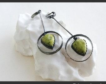 Frog's skin silver jasper earrings