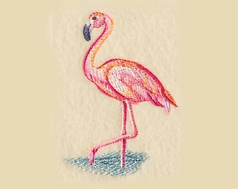 Watercolor Flamingo Tea Towel   Kitchen Towel   Embroidered Towel   Embroidered Kitchen Towel   Hand Towel   Personalized Kitchen