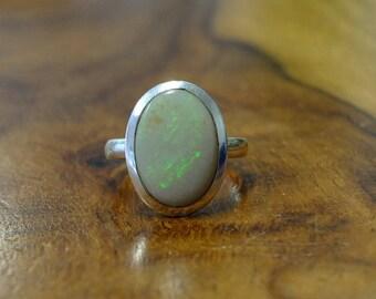 Australian Opal Silver Ring , ring Size N