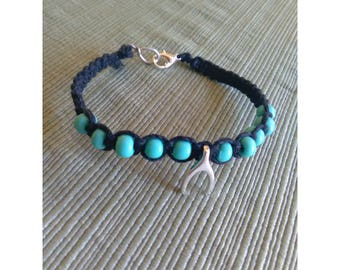 Wishbone & Turquoise Colored Beaded Black Hemp Macrame Bracelet