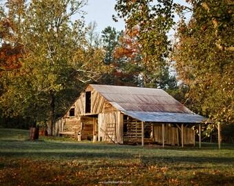 Rustic Barn Photograph, Autumn Barn Landscape, Farmhouse Barn Art, Rustic Barn Wall Decor
