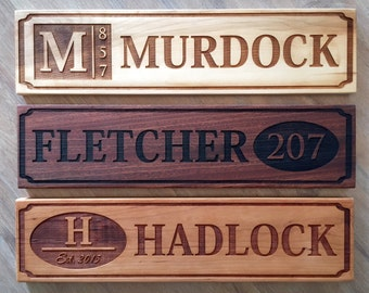 Personalized House Signs with Last Names & Optional Address Numbers