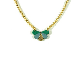 leather butterfly necklace green, greyish blue and gold