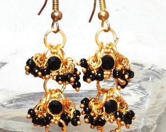 Black and Golden Chandelier Earrings