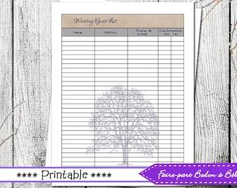 Wedding Guest list - wedding printable - wedding - guest list - printable guest list - digital printable