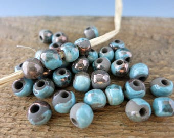 6 Mykonos Frosted Copper Raku Pearls, 6-7mm, 3mm Hole, Ceramic Bead with Copper Oxide finish, Made in Greece, RB7259