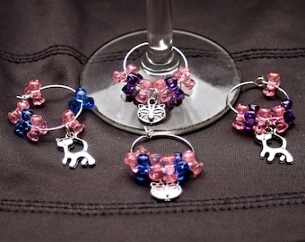 Set of 4  Cat Wine Glass Charms