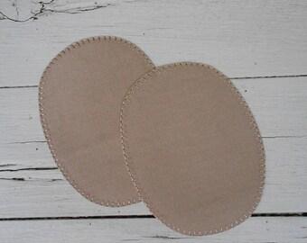 Set of two iron-on dark beige