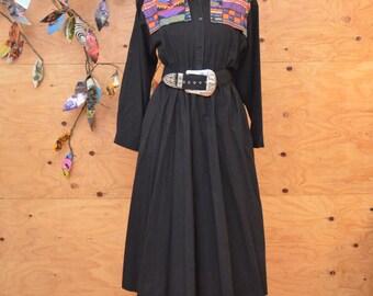 Vintage 80's Dress Midi Length South Western Black & Rainbow Aztec Print Dress SZ M/L
