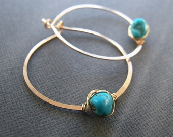 "Turquoise earrings - genuine turquoise hoop earrings gold silver 3/4"" - 1"" 18mm 24mm Nevada Blue December birthstone Gift"