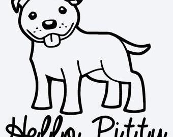 Pitbull Vinyl Decal - Hello Pitty