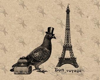 Bon Voyage French Paris Travel Pigeon Trunks Instant Download Digital printable clipart graphic - scrapbooking,decoupage,kraft, etc HQ300dpi