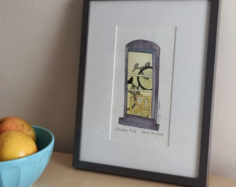 Framed Drawing with Fan and Bike - Original Art - Ink and Watercolor - NYC Window #108 - Love, New York