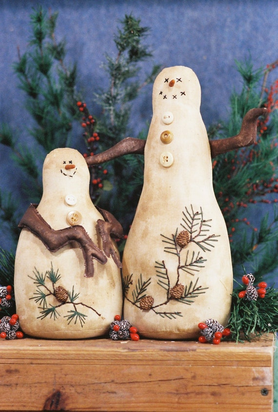 Pines and Needles - Mailed Cloth Doll Pattern  Primitive country Snowmen