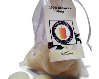 Vanilla Scented Beeswax Melts, Long Lasting Scented Round White Melt, Beeswax Tart, Flameless Candle
