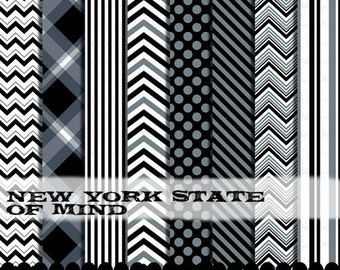 Black and Gray clip art chevron frame digital paper clipart, Chevron clipart silver and black digital paper set : p0218 3s4849 IP