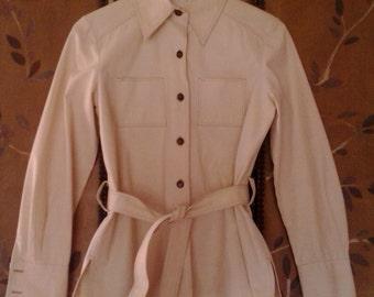 70s Saks Fifth Avenue cream shirt jacket