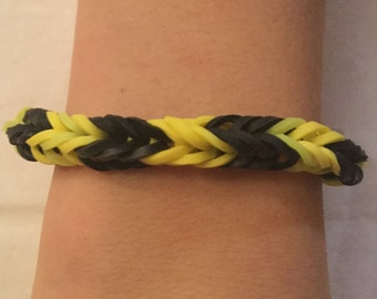 Bumblebee Style Loom Rubber Band Bracelet-Fishtail Design (Free Shipping)