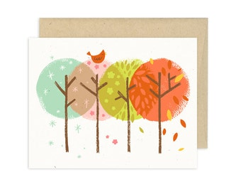 Four Seasons Forest Illustrated Greeting Card