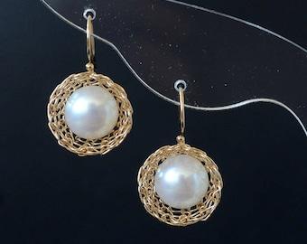 Princess-Gold Freshwater  Pearl Dangle Earrings-14K Gold Filled Wire Earrings-Wire Weaved-Gift For Women