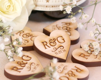 Personalised Wooden Hearts Rustic Wedding Favors Mr & Mrs Love Hearts Wedding Table Decoration Favour Maple 3cm x 3cm
