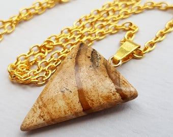Picture Jasper Triangle Necklace, Brown Necklace, Jasper Necklace, Geometric Necklace, Earth Tones, Quality Semi Matte Gold Plated Chain