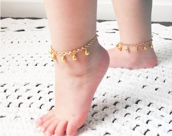 First Birthday Gift, Gold Baby Anklet, Boho Baby, Tribal Baby,  Cake Smash Photo, Christening GIft, Gypsy Baby, Toddler Girl Gift