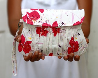 Pleated wristlet clutch white and pink floral, pink flower clutch purse, white and pink handmade clutch
